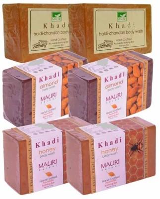 Khadimauri Haldi-Chandan, Almond & Honey Double Pack Soaps - Combo Pack of 6 - Premium Handcafted Herbal