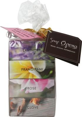 Soap Opera Frangipani, Rose, Lavender, Clove Soaps - 3+1 combo pack