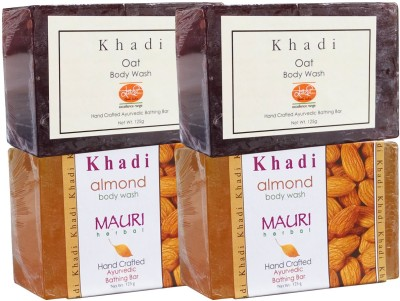 Khadimauri Almond & Oat Soaps Twin Pack of 4 Herbal Ayurvedic Natural