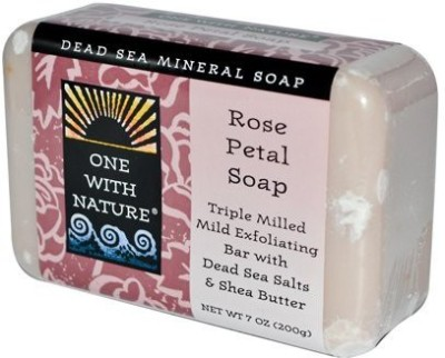 One With Nature Dead Sea Mineral Rose Petal Soap Pack of 1