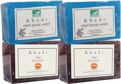 Khadimauri Oat & Mint Soaps Twin Pack of 4 Herbal Ayurvedic Natural