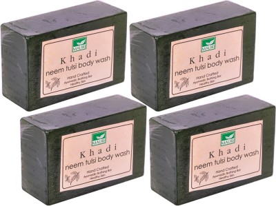 Khadimauri Neem-Tulsi Soaps - Pack of 4 - Premium Handcrafted Herbal