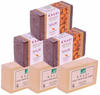 Khadimauri Aloe-Vera & Almond Triple Pack Soaps - Combo Pack of 6 - Premium Handcafted Herbal