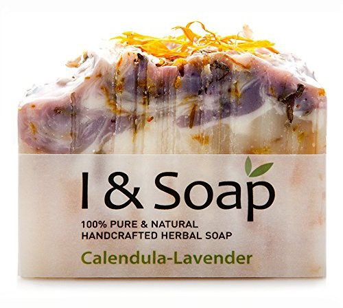 I & SOAP Calendula-Lavender Soap - 100% Natural & Organic Materials - Handcrafted Herbal Soap - Gentle and Effective Facial Hand and Body Cleansing Soap Bars - Best Natural Skin Care for All Skin Type or Acne Skin - Organic Calendula Flowers and Calendula Infused Herbal Oil - Made in USA - 100% Sati