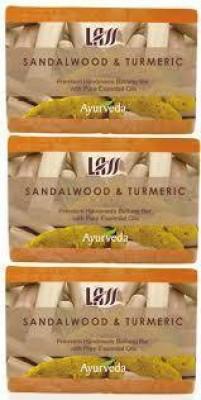 Lass Naturals Pack of 3 Lass Naturals LASS SANDALWOOD & TURMERIC SOAPS