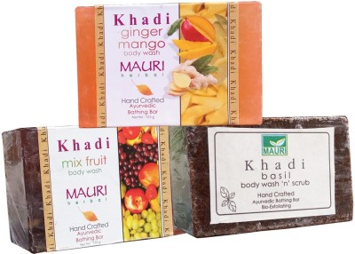 Khadimauri Mix-Fruit Basil Ginger Mango Soaps Pack of 3 Herbal Ayurvedic Natural