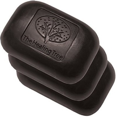 The Healing Tree Bamboo Charcoal Soap - Facial Cleansing Treatment For Acne Prone Skin - 3 Pack