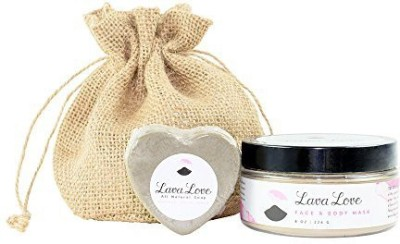 Lava Love Face and Body Mask with Grey Heart Soap Spa Kit