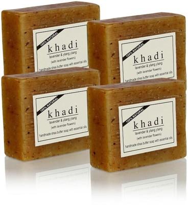 Khadi Natural Lavender & Ylang Ylang with Lavender Flowers Soap (Set of 4)