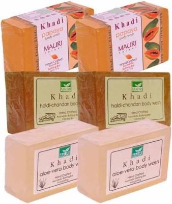 Khadimauri Papaya, Haldi-Chandan & Aloe-Vera Double Pack Soaps - Combo Pack of 6 - Premium Handcafted Herbal