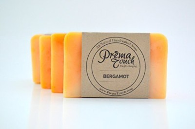 PremaTouch - Life Changing All Natural Handmade Soap. Free of SLS Parabens and Harmful Chemicals. (Bergamot 4 Pack)