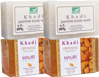 Khadimauri Almond & Jasmine Soaps Twin Pack of 4 Herbal Ayurvedic Natural