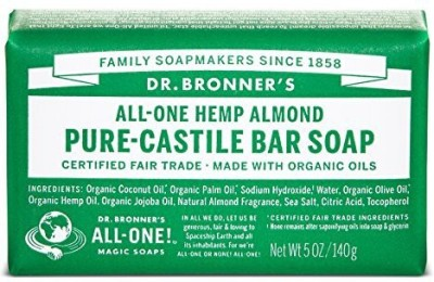 Dr. Bronner's Magic Soaps Pure-Castile Soap All-One Hemp Almond Bars (Pack of 6)