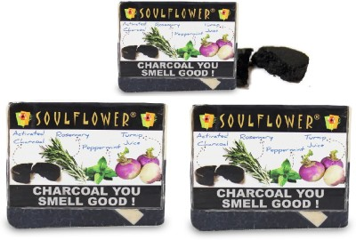 Soulflower Charcoal You Smell Good Soap set of 3