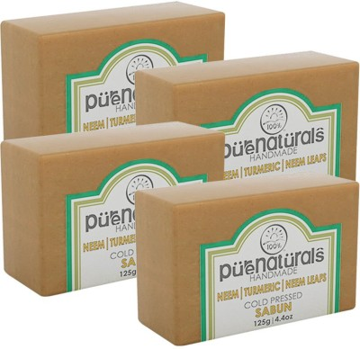 Purenaturals Hand Made Soap Turmeric Neem Leafs - 125g (Set of 4)