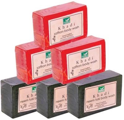 Khadimauri Saffron & Neem-Tulsi Soaps Triple Pack of 6 - Premium Handcrafted Herbal