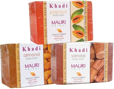 Khadimauri Almond Sandal Papaya Soaps Pack of 3 Herbal Ayurvedic Natural