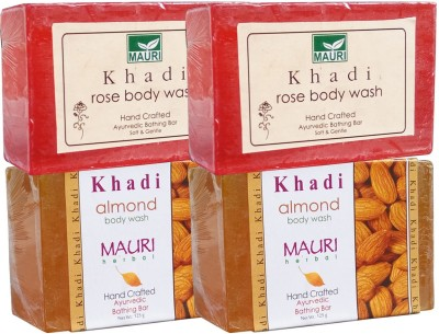 Khadimauri Almond & Rose Soaps Twin Pack of 4 Herbal Ayurvedic Natural