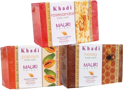 Khadimauri Papaya Honey Rose-Sandal Soaps Pack of 3 Herbal Ayurvedic Natural