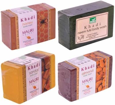 Khadimauri Honey Neem-Tulsi Sandal Almond Soaps - Combo Pack of 4 - Premium Handcafted Herbal