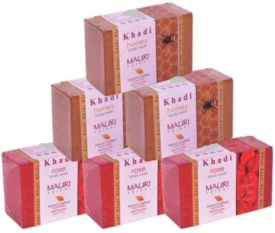 Khadimauri Rose & Honey Triple Pack Soaps - Combo Pack of 6 - Premium Handcafted Herbal