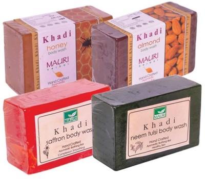Khadimauri Honey Almond Saffron Neem-Tulsi Soaps - Pack of 4 - Premium Handcrafted Herbal