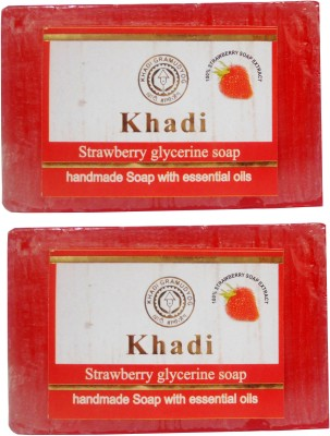 Khadi Herbal NaturalStrawberry Glycerine Soap Pack Of 2