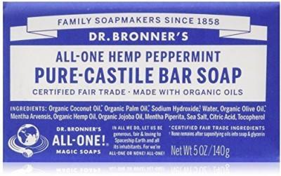 Dr. Bronner's Fair Trade & Organic Castile Bar Soap - (Peppermint 3 Bars)