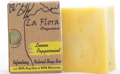 La Flora organics Lemon Peppermint refreshing handmade soap bar