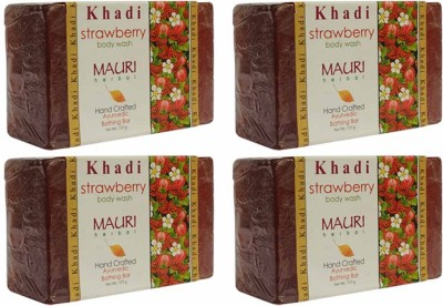 Khadimauri Strawberry - Pack of 4 - Premium Handcrafted Herbal Soaps
