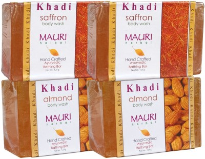 Khadimauri Almond & Saffron Soaps Twin Pack of 4 Herbal Ayurvedic Natural