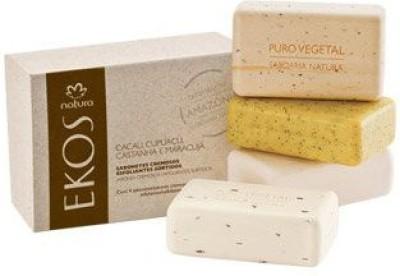Natura Linha Ekos - Sabonete em Barra Puro Vegetal Esfoliante Cremoso Sortido: Castanha Cupuacu Cacau e Maracuja ( Ekos Collection - Assorted Exfoliating Vegetable Bar Soap)