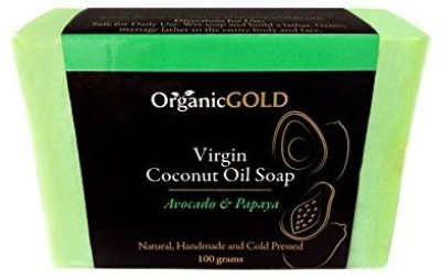 OrganicGOLD Pure Virgin COCONUT OIL SOAP with AVOCADO Oil & PAPAYA Extract. Natural and Handmade. Intensely Hydrates & Deeply Moisturize for Younger-looking Skin and Less Visible Wrinkles