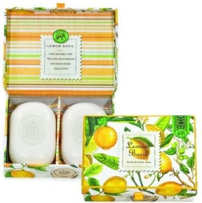 Michel Design Works Triple-milled Bar Lemon Basil Soaps in Decorative Box 2 Bars