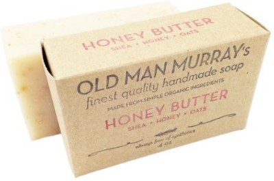 Old Man Murray's Honey Butter All-Natural Soap (2 Bars) - Shea Honey Oats - Handmade w/ Simple Organic Ingredients - No Parabens Alcohol Petroleum Artificial Dyes or Fragrances