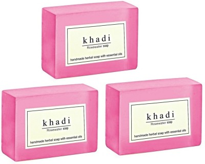 Khadi Herbal NaturalRose Water Soap - Pack of 3