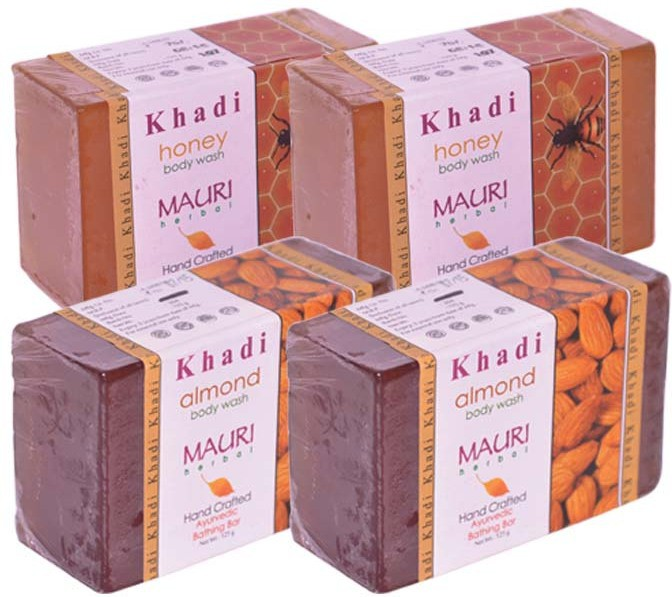 Khadi Mauri Almond and Honey Double - Pack of 4(500 g, Pack of 4)