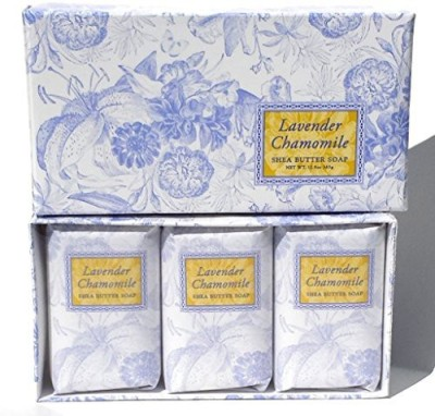 Greenwich Bay Trading Company Lavender Chamomile Soap - Scented Soap Gift Set with oil of Enriched with Shea Butter - Set of Three Soap Bars By Gift Soap Set - Natural Soap Set Individually Wrapped 3in Gift Box