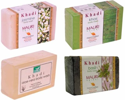 Khadimauri Jasmine Khas Aloe-Vera Basil Soaps - Combo Pack of 4 - Premium Handcafted Herbal