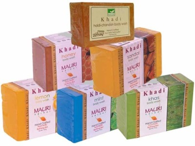 Khadimauri Lemon Mint Khas Honey Sandal Haldi-Chandan Soaps - Combo Pack of 6 - Premium Handcafted Herbal