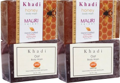 Khadimauri Oat & Honey Soaps Twin Pack of 4 Herbal Ayurvedic Natural