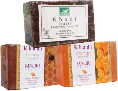 Khadimauri Honey Orange Basil Soaps Pack of 3 Herbal Ayurvedic Natural