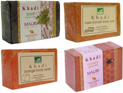 Khadimauri Basil(Tulsi) Haldi-Chandan Orange Honey Soaps - Combo Pack of 4 - Premium Handcafted Herbal