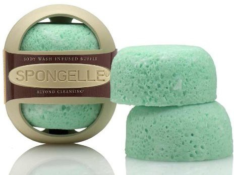 Spongelle Body Wash Infused Buffer 30+ Washes with Travel Case - Green Apple-Lilac Infusion(290 g)