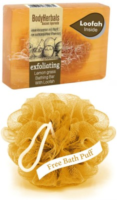 BodyHerbals Exfoliating, Hand Made Lemon Grass Bathing Bar With Natual Loofah