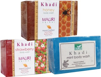 Khadimauri Honey Strawberry Mint Soaps Pack of 3 Herbal Ayurvedic Natural