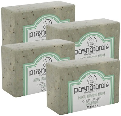 Purenaturals Hand Made Soap Mint,Sesame Seeds - 125g (Set of 4)