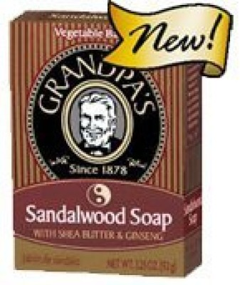 Grandpa's Sandalwood Bar Soap with Shea Butter and Ginseng - Pack of 4