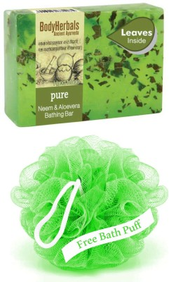 BodyHerbals Pure, Hand Made Natural Neem & Aloevera Bathing Bar With Natural Leaves.