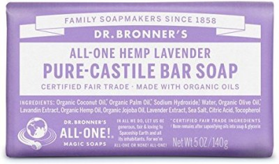 Dr. Bronner's Magic Soaps Pure-Castile Soap All-One Hemp Lavender Bars (Pack of 6)